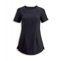 Women's Satin Trim Tunic (Black) - NF32