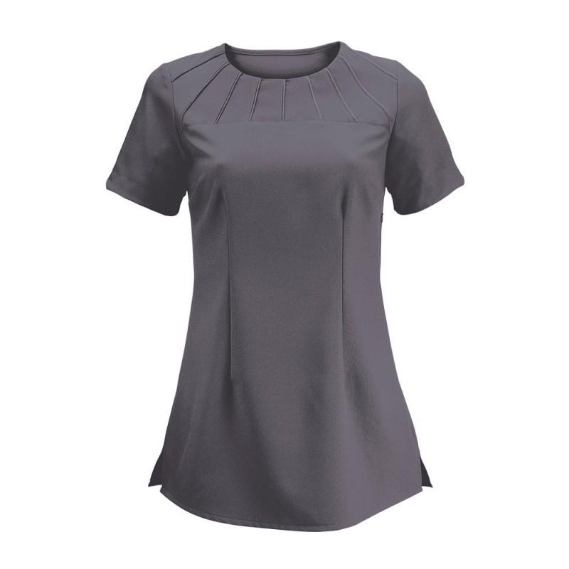 Women's Satin Trim Tunic (Charcoal) - NF32