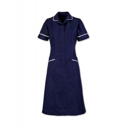 Soft Brushed Dress (Sailor Navy With White Trim) - D308