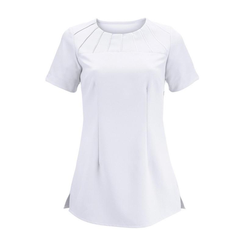 Women's Satin Trim Tunic (White) - NF32