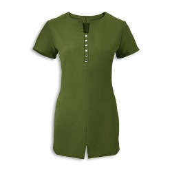 Women's Notch Neck Beauty Tunic (Olive) - NF58