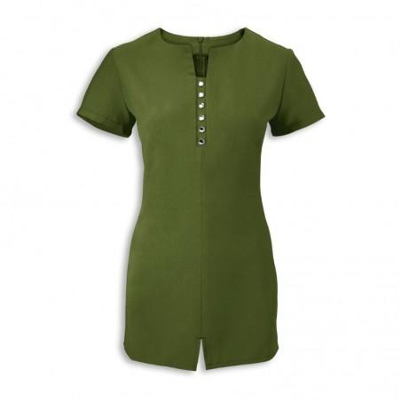 Women's Notch Neck Beauty Tunic (Olive) - NF58