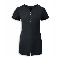 Women's Notch Neck Beauty Tunic (Black) - NF58