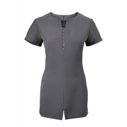 Women's Notch Neck Beauty Tunic (Charcoal) - NF58