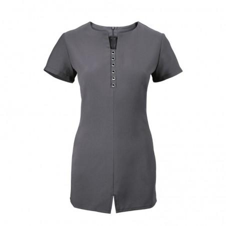 Women's Notch Neck Beauty Tunic (Charcoal) - NF58