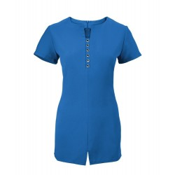 Women's Notch Neck Beauty Tunic (Cobalt) - NF58