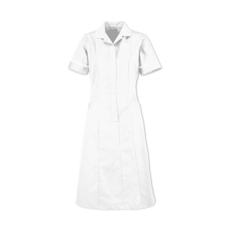 Soft Brushed Dress (White With White Trim) - D308