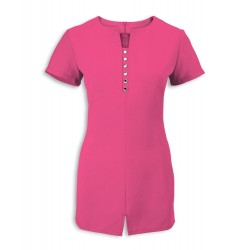 Women's Notch Neck Beauty Tunic (Hot Pink) - NF58