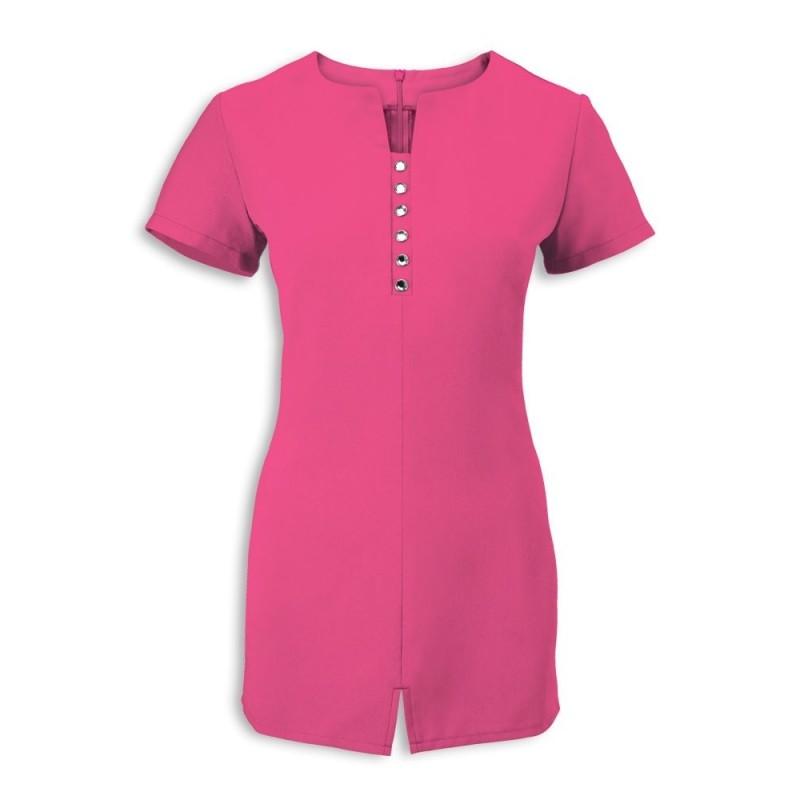 Women's Notch Neck Beauty Tunic (Hot Pink) - NF58