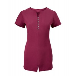 Women's Notch Neck Beauty Tunic (Raspberry) - NF58