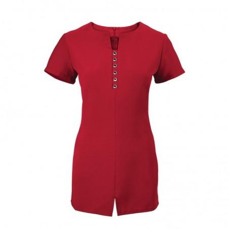 Women's Notch Neck Beauty Tunic (Red) - NF58