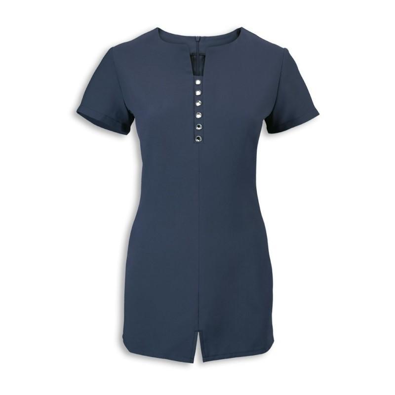 Women's Notch Neck Beauty Tunic (Navy) - NF58