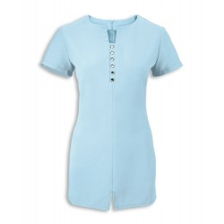 Women's Notch Neck Beauty Tunic (Teal) - NF58