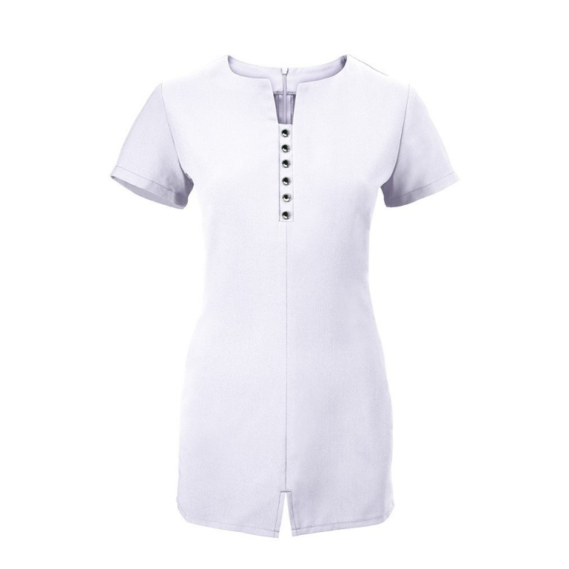 Women's Notch Neck Beauty Tunic (White) - NF58
