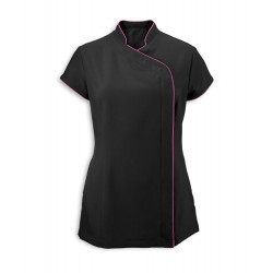 Women's Asymmetrical Zip Tunic (Black with Hot Pink Trim) - NF59