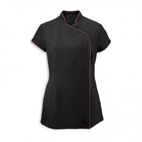 Women's Asymmetrical Zip Tunic (Black with Hot Pink Trim) - NF59