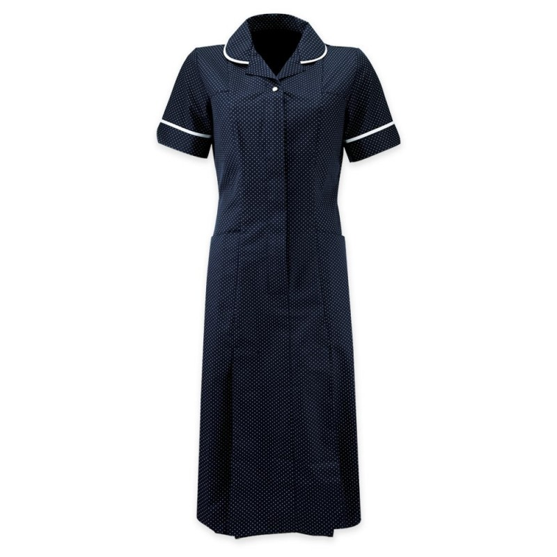 Spot Dress (Navy & White With White Trim) HE227