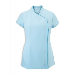 Women's Asymmetrical Zip Tunic (Teal with Peacock Trim) - NF59