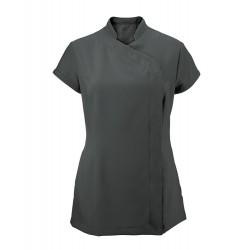 Women's Asymmetrical Zip Tunic (Charcoal) - NF59