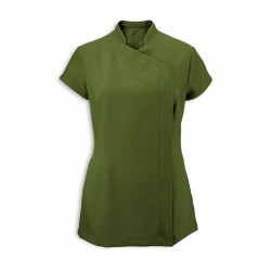 Women's Asymmetrical Zip Tunic (Olive) - NF59