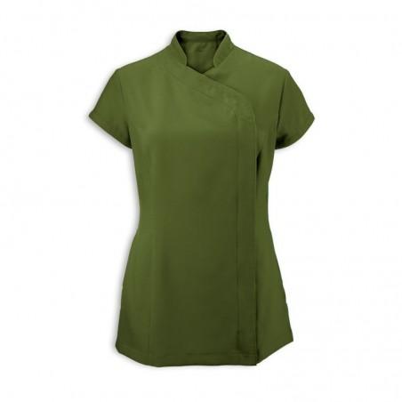 Women's Asymmetrical Zip Tunic (Olive) - NF59