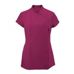 Women's Asymmetrical Zip Tunic (Raspberry) - NF59