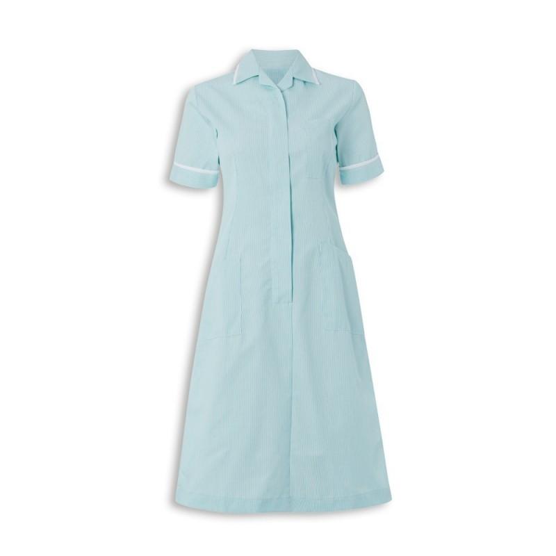 Stripe Dress (Aqua With White Trim) - ST312