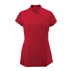 Women's Asymmetrical Zip Tunic (Red) - NF59
