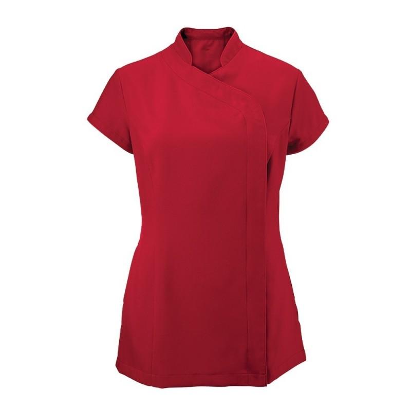 Women's Asymmetrical Zip Tunic (Red) - NF59