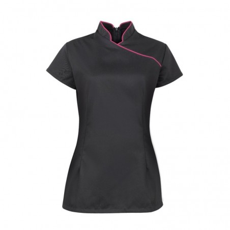 Women's Contrast Piping Tunic (Black with Pink Trim) - NF977