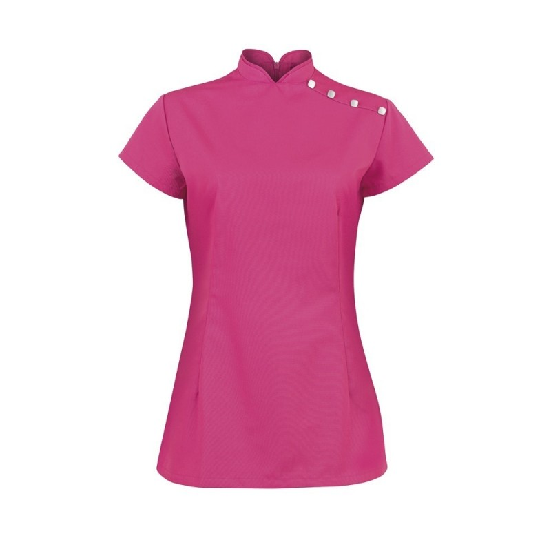 Women's Shoulder Button Tunic (Bright Pink) - NF959