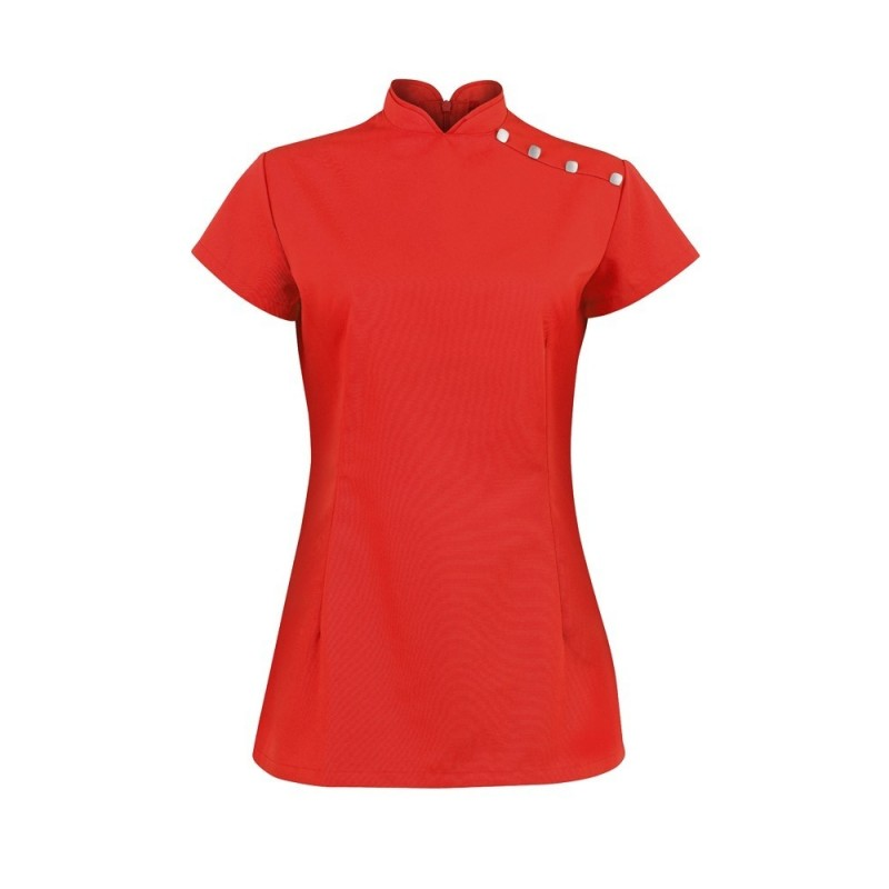 Women's Shoulder Button Tunic (Red) - NF959