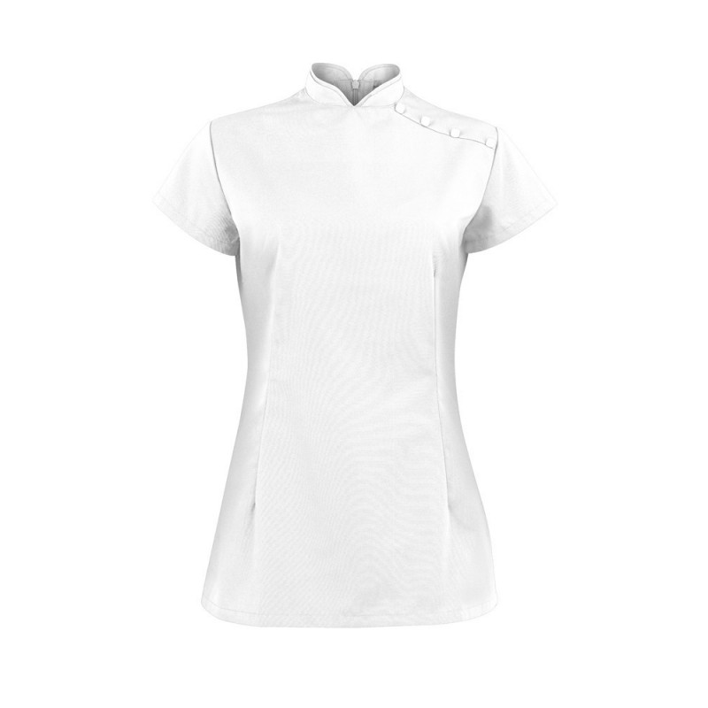 Women's Shoulder Button Tunic (White) - NF959