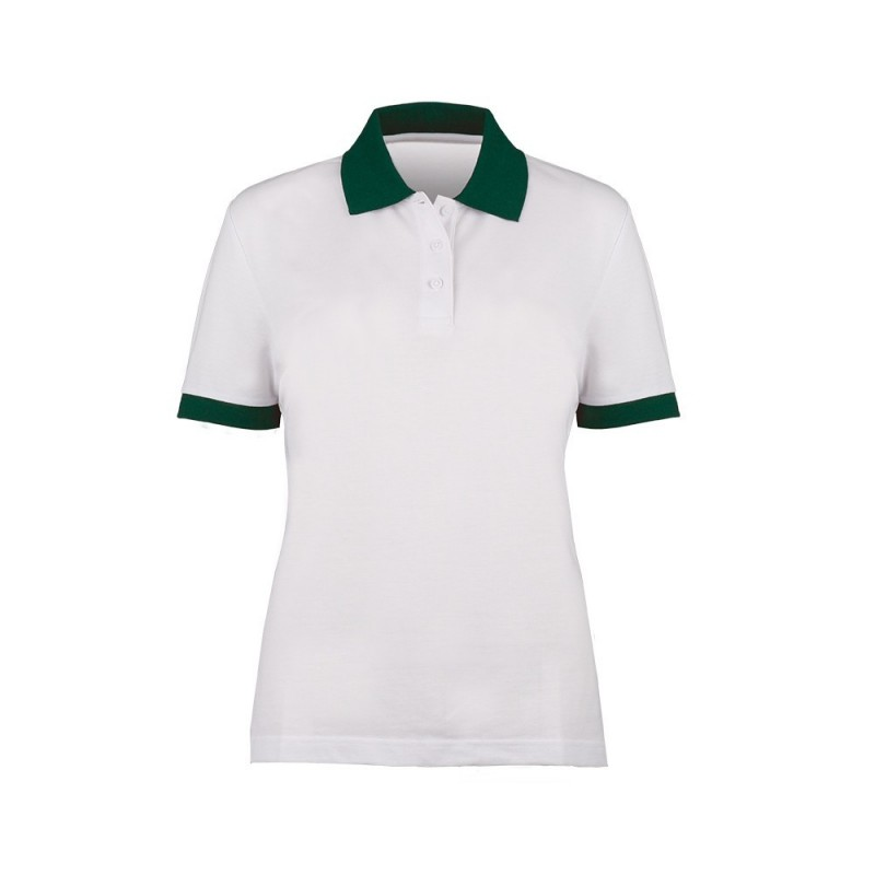 Women's Contrast Polo Shirt (White with Bottle Green Trim) - HP234