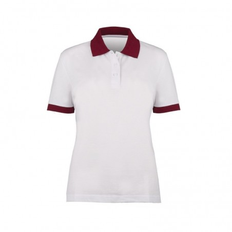 Women's Contrast Polo Shirt (White with Burgundy Trim) - HP234