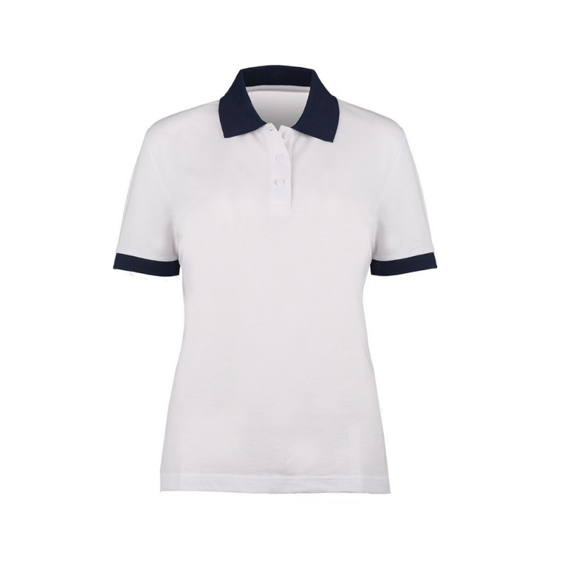 Women's Contrast Polo Shirt (White with Navy Trim) - HP234