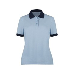 Women's Contrast Polo Shirt (Pale Blue with Navy Trim) - HP234