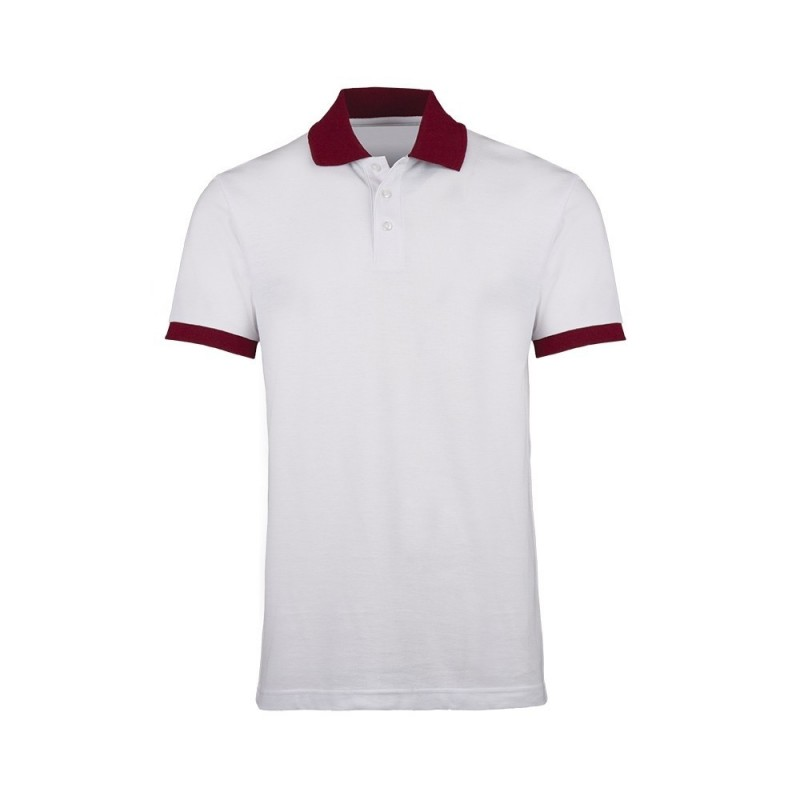 Unisex Contrast Polo Shirt (White with Burgundy Trim) - HP233