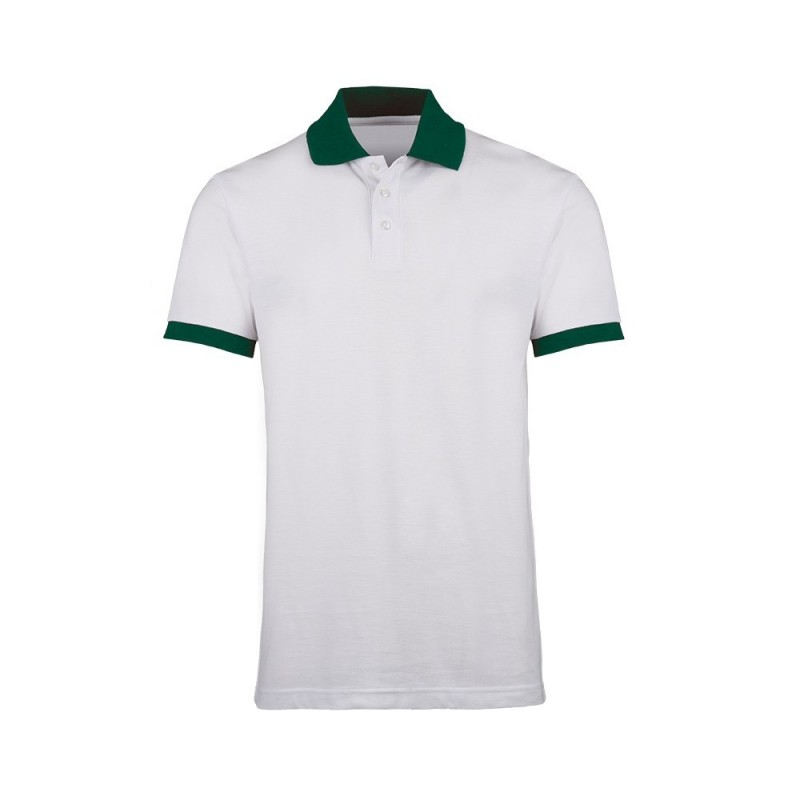 Unisex Contrast Polo Shirt (White with Bottle Green Trim) - HP233