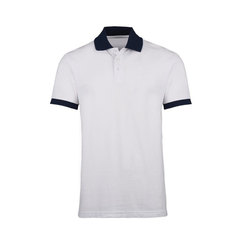 Unisex Contrast Polo Shirt (White with Navy Trim) - HP233