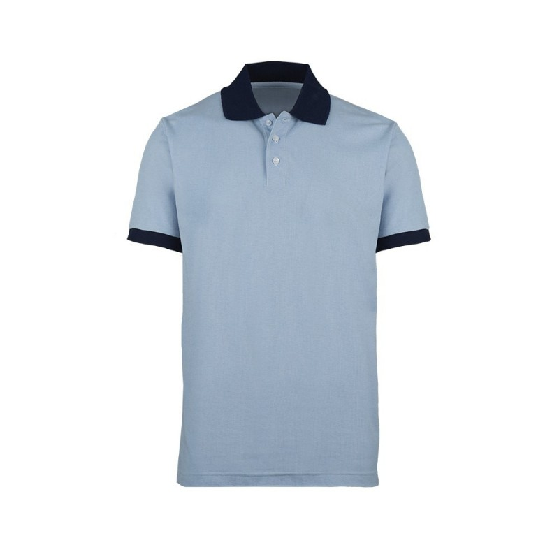 Unisex Contrast Polo Shirt (Pale Blue with Navy Trim) - HP233