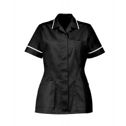 Women's Healthcare Tunic (Black with White Trim) - D313