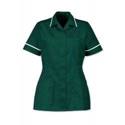 Women's Healthcare Tunic (Bottle Green with White Trim) - D313