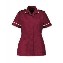 Women's Healthcare Tunic (Burgundy with Cream Trim) - D313