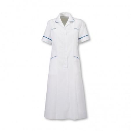 Trim Dress (White with Royal Box Trim) - H211W-B