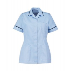 Women's Healthcare Tunic (Pale Blue with Navy Trim) - D313