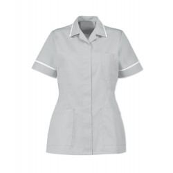 Women's Healthcare Tunic (Pale Grey with White Trim) - D313