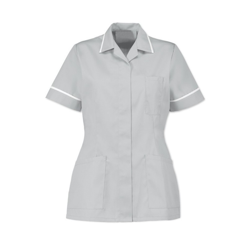 Women's Tunic (Pale Grey With White Trim) - D313
