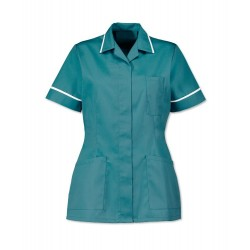 Women's Healthcare Tunic (Turquoise with White Trim) - D313