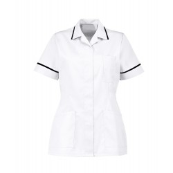 Women's Healthcare Tunic (White with Black Trim) - D313